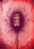 Retro poster with a microphone and decorative elements Stock Photo