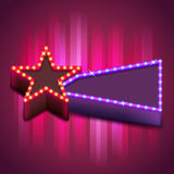 Retro poster with neon star board Royalty Free Stock Photos