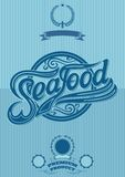 Retro poster with ornatent inscription seafood Stock Photography
