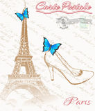 Retro poster of Paris. Eiffel tower with shoe fnd butterfly Stock Photos