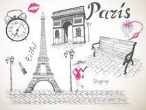 Retro poster of Paris vector illustration