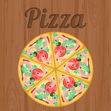 Retro poster with pizza over wood Royalty Free Stock Photos