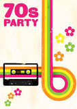 Retro Poster. 70s Party Flyer With Audio Cassette Tape vector illustration