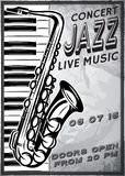 Retro poster with saxophone and piano for jazz festival Stock Images