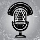 Retro poster with scratches and radio Microphone Royalty Free Stock Image