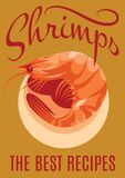 Retro poster with shrimp for restaurants Royalty Free Stock Photos