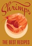 Retro poster with shrimp for restaurants. Retro poster with inscription and shrimp for restaurants Royalty Free Stock Photos