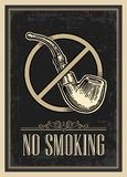 Retro poster - The Sign No Smoking in Vintage Style. Vector engraved illustration  on dark background.   Stock Photos