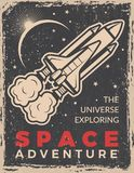 Retro poster with space shuttle. Design template with place for your text royalty free illustration