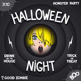 Retro poster in style of horror movie. Halloween night. Retro poster in style of horror movie with pop-art girl in the center and volumetric labels Royalty Free Stock Photos