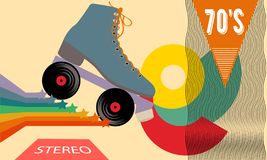Retro poster in the style of the 70s. Roller skates, stars, music and records. Vector illustration. Retro poster in the style of the 70s. Roller skates, stars stock illustration