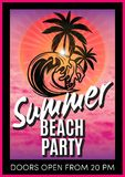 Retro poster with summer beach party Royalty Free Stock Images
