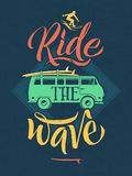 Retro poster of surfer on the waves in hawaii. Sport emblem with hand writing words. Vector illustration Royalty Free Stock Images