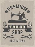 Retro poster for tailor shop. Placard with symbols of textile production Royalty Free Stock Photography