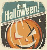 Retro poster template with Halloween pumpkin head Royalty Free Stock Images