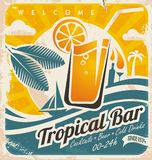 Retro poster template for tropical bar. Beach bar vintage  sign. Grunge seaside old paper card with cold drink and palm tree Stock Photos
