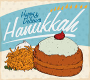 Retro Poster with Traditional Hanukkah Food with Sufganiyah and Latke, Vector Illustration Royalty Free Stock Image