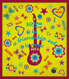 Retro poster vector design. With hippie elements royalty free illustration