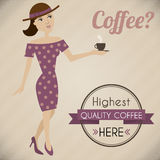 Retro poster of a woman offering a coffee stock illustration