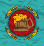 Retro poster wooden mug beer and wheats Royalty Free Stock Images