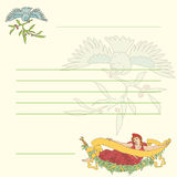 Retro- Postkarte des Vektors mit Nymphe und Vogel Lizenzfreie Stockfotografie
