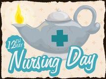 Retro- Postkarte mit Lit-Öl-Lampe für Pflegetag, Vektor-Illustration Lizenzfreies Stockfoto