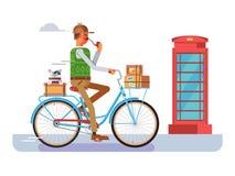 Retro postman on a bicycle Stock Photos