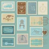 Retro Postzegels Royalty-vrije Stock Afbeeldingen
