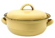 Retro pot. Yellow retro lidded pot isolated on white stock photo