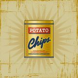 Retro Potato Chips Can Stock Images