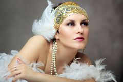 Retro- Prallplattenfrau Lizenzfreies Stockfoto