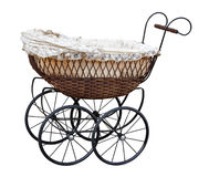 Retro pram. Isolated on white. Clipping path included Royalty Free Stock Image