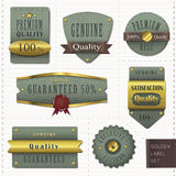 Retro premium quality golden labels collection Royalty Free Stock Images