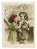 Retro prentbriefkaar met kinderen stock foto's