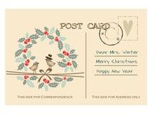 Retro prentbriefkaar van de Kerstmisgroet met vogels, hulstkroon Stock Foto's