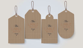 Retro Price Tags. Vector set of four price tags with different shape royalty free illustration