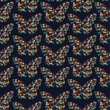 Retro prickar skapar sömlös vanlig modellvec för fjärilar royaltyfri illustrationer