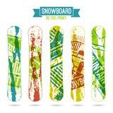 Retro print for snowboard Stock Image