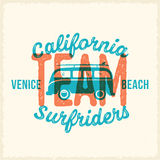 Retro Print Style Surfing Vector Label or Logo Template. Surf Van with Surfboard and Vintage Typography. Weathered Look Stock Photography