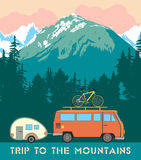 Retro print trips to the mountains. Royalty Free Stock Images