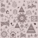 Retro print with winter pattern Royalty Free Stock Photos
