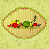 Retro priorità bassa con la frutta e il veget Fotografia Stock