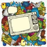Retro priorità bassa della TV Fotografie Stock