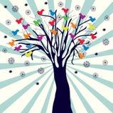 Retro priorità bassa di natale con l'albero Immagini Stock Libere da Diritti