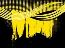 Retro priorità bassa gialla astratta dell'onda Immagine Stock