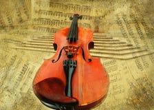 Retro priorità bassa musicale del violino del grunge Fotografia Stock Libera da Diritti