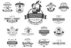 Retro profession logos Stock Image