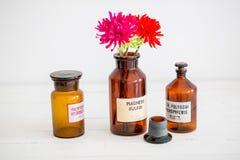 Retro progettazione alla moda antica delle bottiglie di vetro Immagini Stock