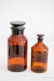 Retro progettazione alla moda antica delle bottiglie di vetro Fotografie Stock Libere da Diritti