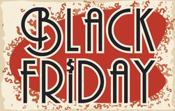 Retro progettazione con i simboli dei soldi per le vendite di Black Friday, illustrazione di vettore Fotografie Stock